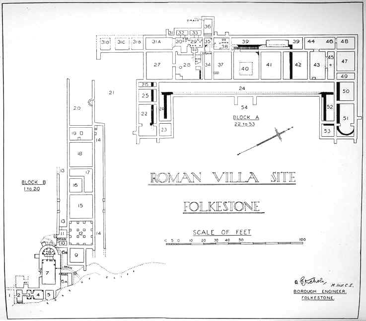 Folkestone Roman Villa Plan V C H Of Kent Vol 3 Plate 21