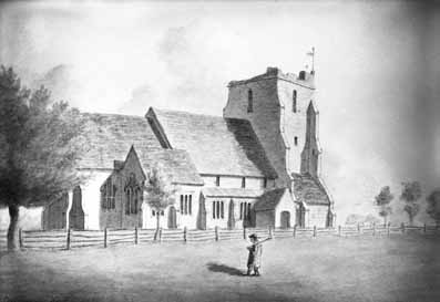 St Thomas >> Picture of St Nicholas Church, Sandhurst, Kent 1797
